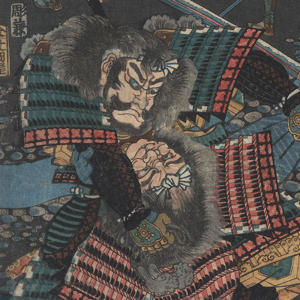 Muto Kihei versus Oni Kojima Yataro, 1857 by Yoshitsuya (1822 - 1866)