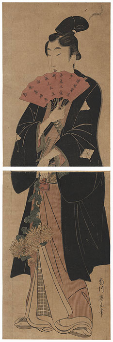 Young Man Holding a Fan Kakemono by Eizan (1787 - 1867)
