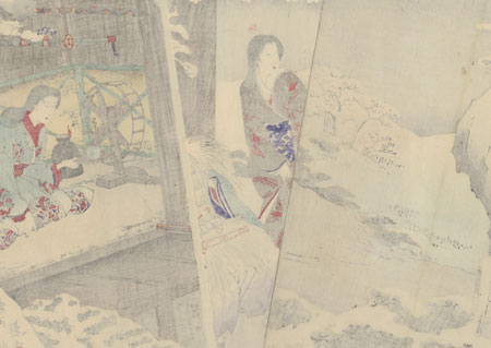 Hino Suketoshi Visits Shinozuka and Her Daughter on a Snowy Night, 1889 by Chikanobu (1838 - 1912)