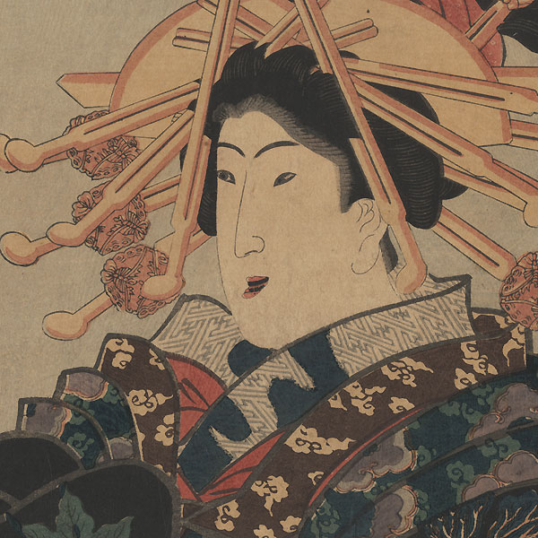 Smiling Courtesan Kakemono by Toyokuni III/Kunisada (1786 - 1864)