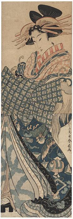 Courtesan with a Takaramono Kimono Kakemono by Shunsen (1762 - circa 1830)