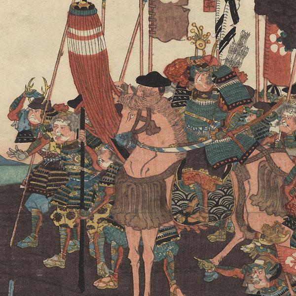 Taira Troops at Kojima in Bizen Province, 1847 - 1852 by Yoshifuji (1828 - 1889)