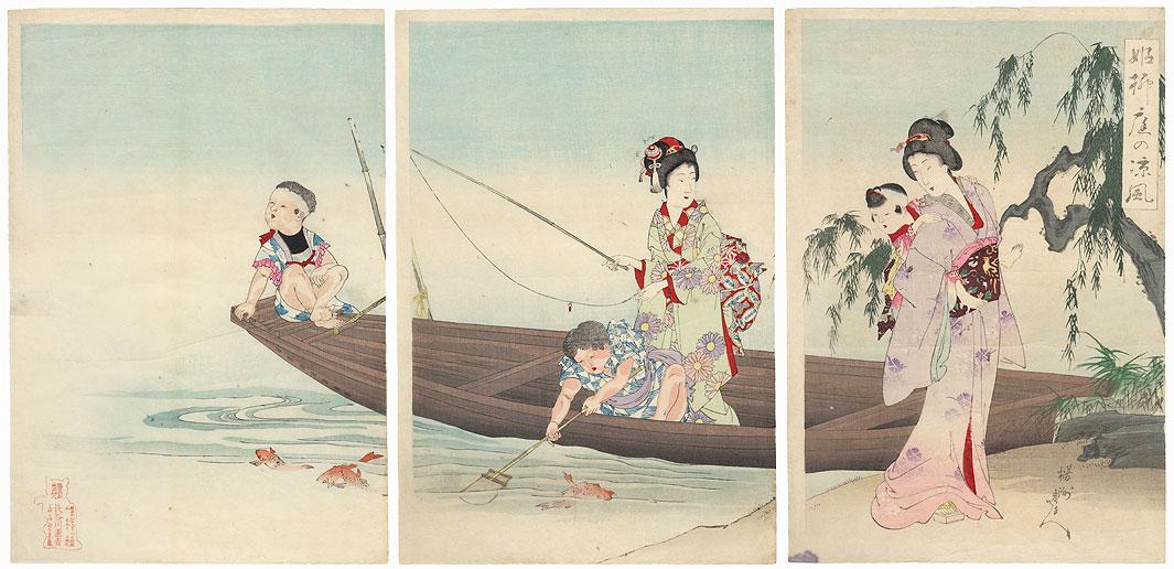 Fishing by Chikanobu (1838 - 1912)