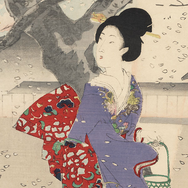 Night Cherry Blossom Viewing in the Garden by Chikanobu (1838 - 1912)