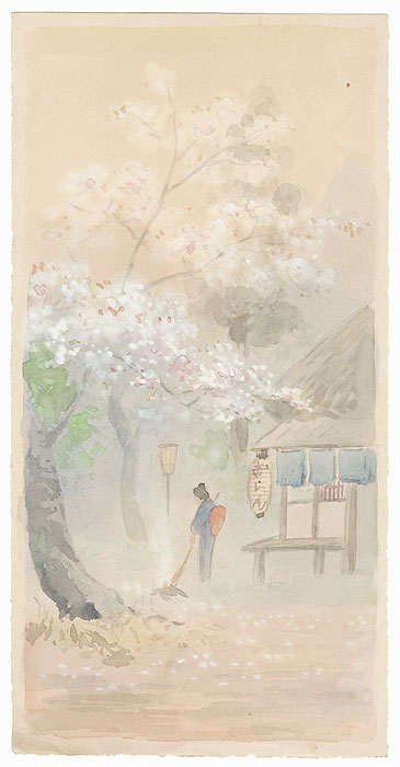 Blossoming Cherry and Beauty Sweeping by Shin-hanga & Modern artist (unsigned)