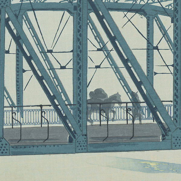 Moonlight at Fujikawa Bridge by Tokuriki (1902 - 1999)