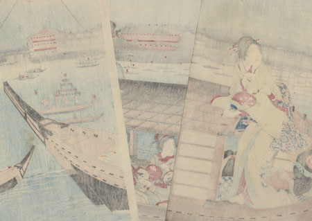 Beauties Enjoying Fireworks by Kunichika (1835 - 1900)
