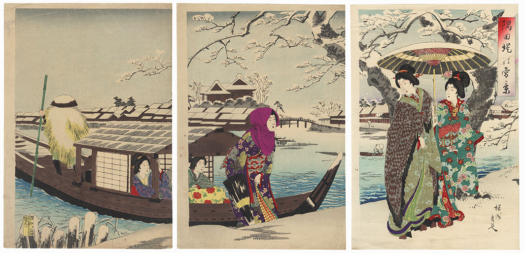 Snow Scene on the Banks of the Sumida River, 1891 by Chikanobu (1838 - 1912)