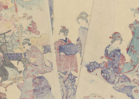 Entertaining Guests, 1890  by Chikanobu (1838 - 1912)