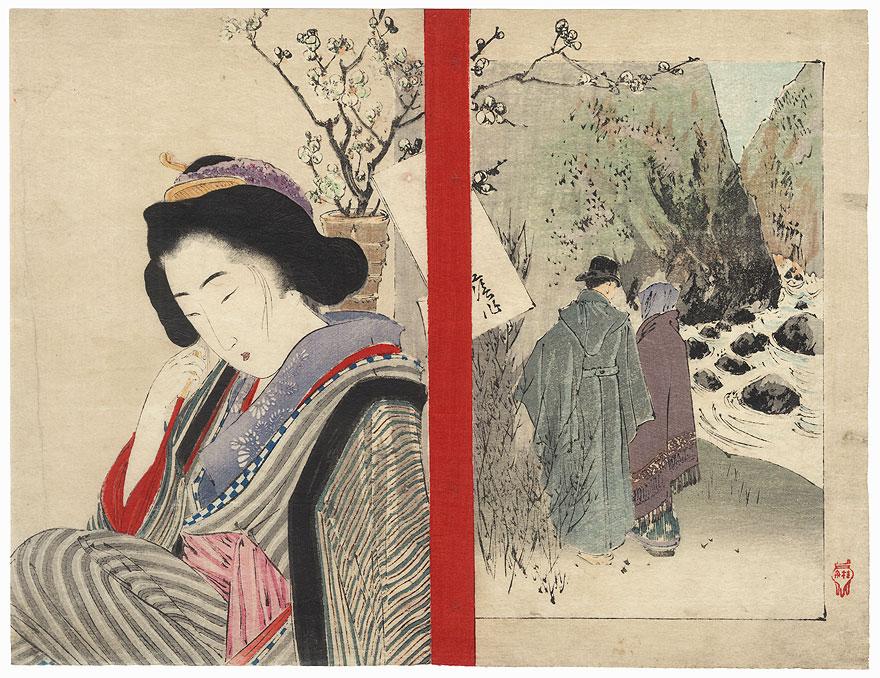 Beauty and Couple Strolling along a River Kuchi-e Print by Takeuchi Keishu (1861 - 1942)