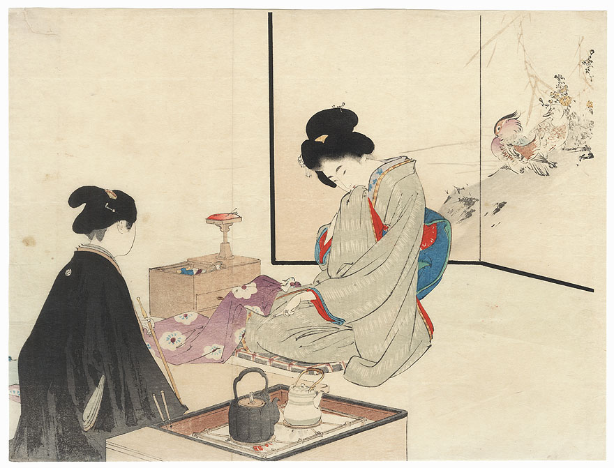 Sewing Kuchi-e Print by Toshikata (1866 - 1908)
