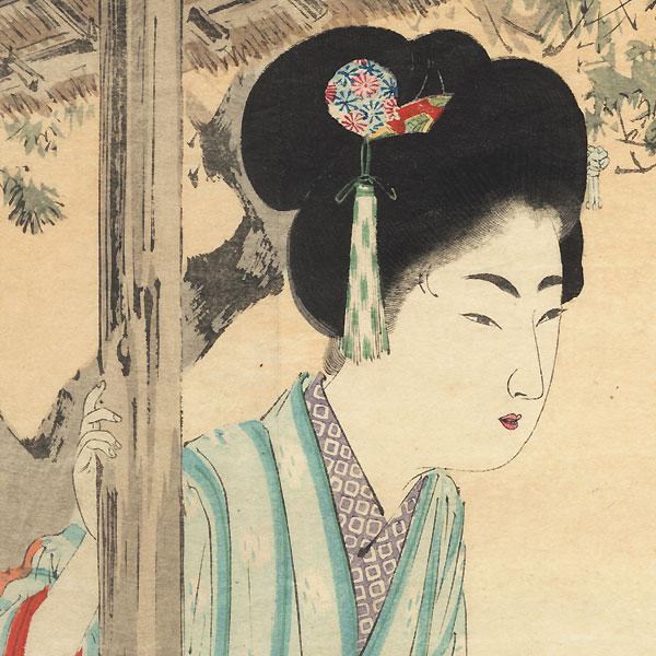 Beauty in an Iris Garden Kuchi-e Print by Toshikata (1866 - 1908)