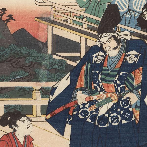 Hakoomaru Meeting Kudo Saemon (Suketsune) by Hiroshige (1797 - 1858)