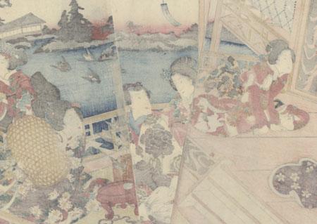 Eastern Genji Performing the Ritual of Freeing Living Things, 1854 by Toyokuni III/Kunisada (1786 - 1864)