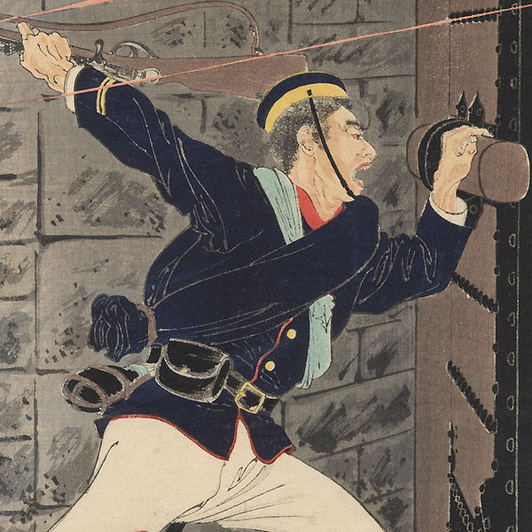 Private Harada Jukichi Opens the Hyeonmu Gate from Within the Fort at Pyongyang, 1894 by Toshikata (1866 - 1908)