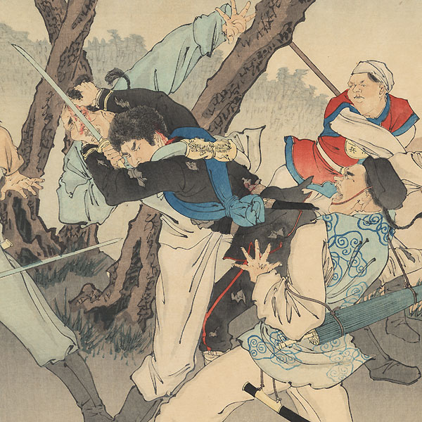 Japanese Soldier Fighting off Chinese Enemies by Ginko (active 1874 - 1897)