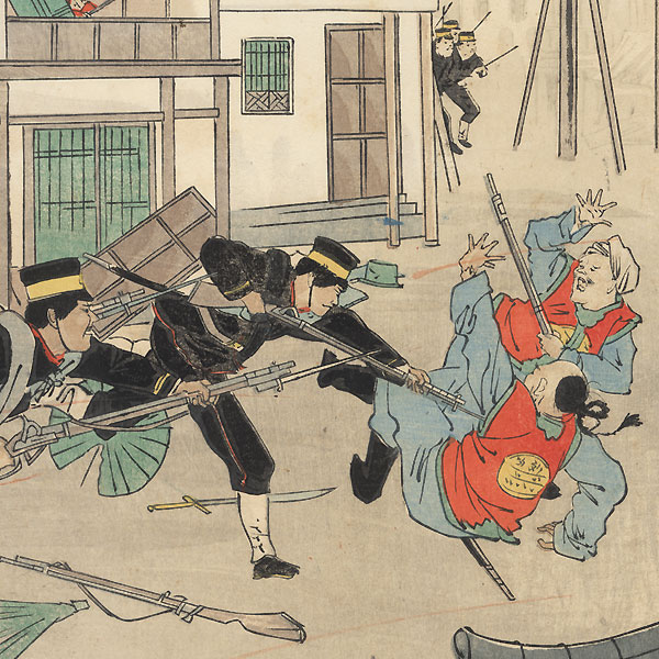 Fighting in the Street during the Sino-Japanese War, 1895 by Meiji era artist (unsigned)