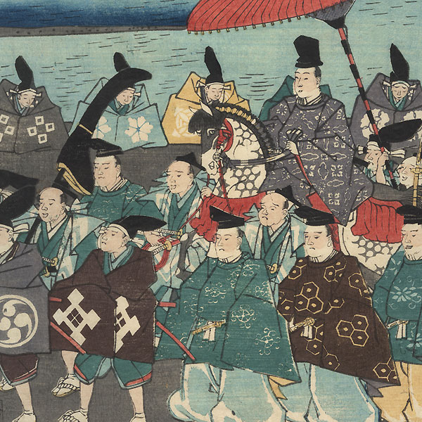 The Procession of Lord Ashikaga Yoshimasa on an Excursion to Higashiyama, 1862 by Yoshitora (active circa 1840 - 1880)