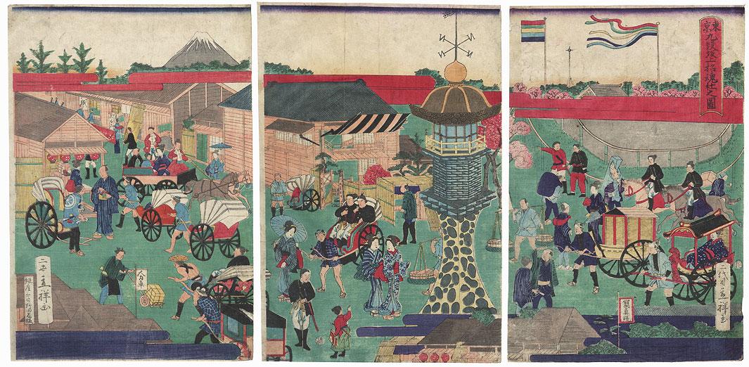 Shokon Shrine atop Kudanzaka, Tokyo, 1871 by Rissho II