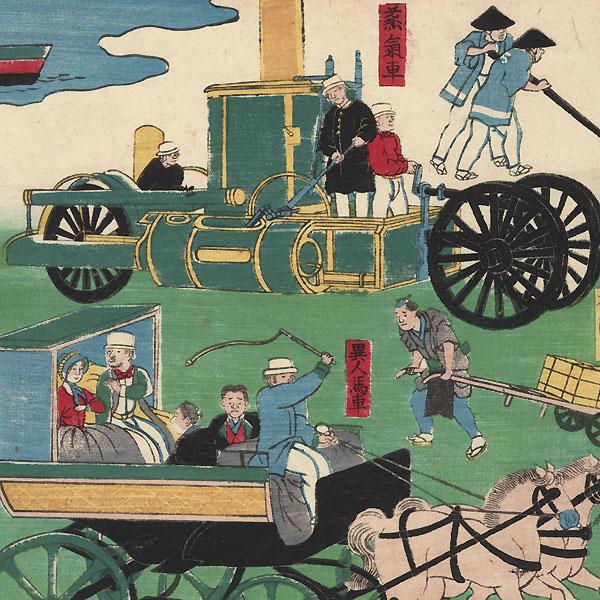 Tokyo Vehicle Traffic, 1870 by Yoshitora (active circa 1840 - 1880)