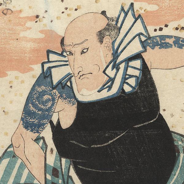 Ichikawa Yaozo V as Tsuribune no Sabu, 1839 by Kuniyoshi (1797 - 1861)