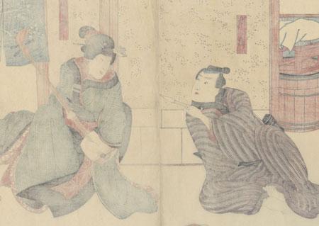 Ichimura Utaemon XII as Sashichi and Bando Shuka I as Koito, 1849 by Kuniyoshi (1797 - 1861)