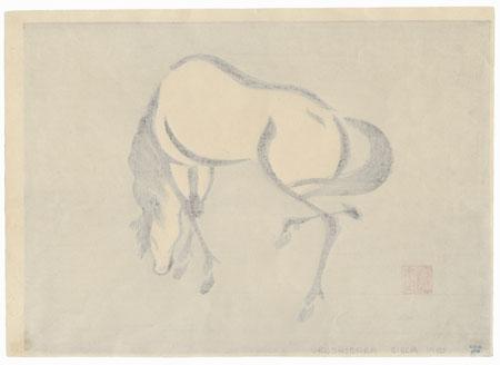 Grazing Horse (left) by Mokuchu Urushibara (1888 - 1953)