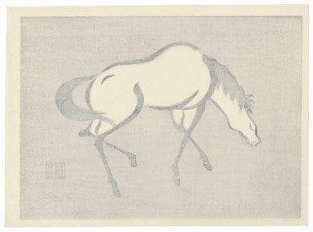 Grazing Horse (right) by Mokuchu Urushibara (1888 - 1953)