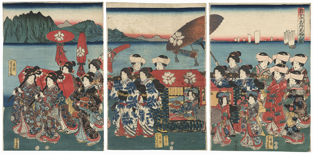 Procession of Beauties, 1855 by Yoshikazu (active circa 1850 - 1870)