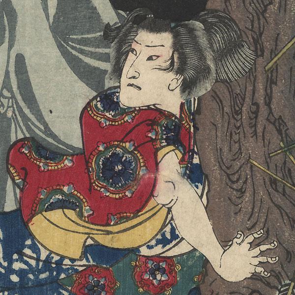Mutsuki Suginosuke Norifusa with a Ghost beside Stone by Yoshitoshi (1839 - 1892)