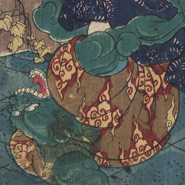 The Temple Page Shiragikumaru Wrestling a Demon by Yoshitoshi (1839 - 1892)