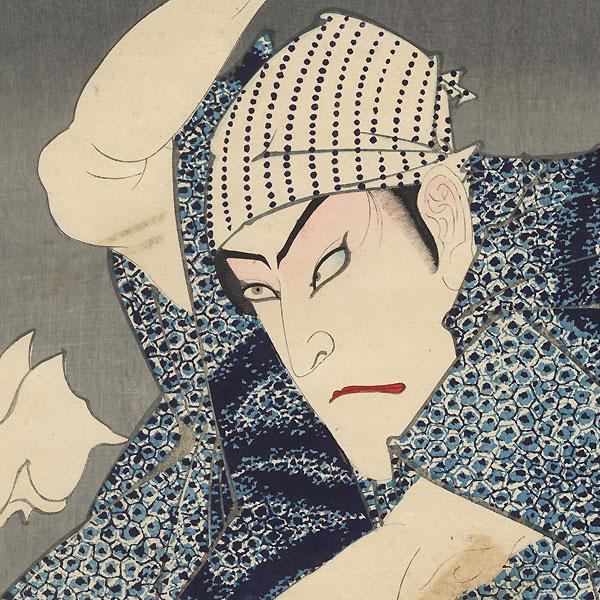 Onoe Kikugoro V as Sashichi and the Late Sawamura Tanosuke as the Geisha Koito by Kunichika (1835 - 1900)