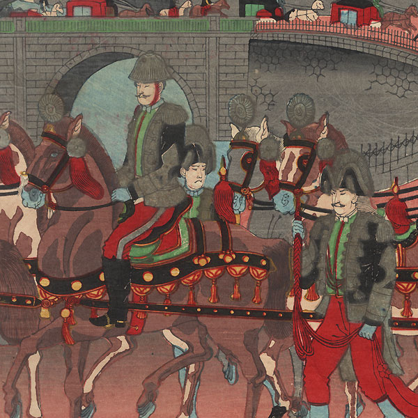 Emperor's Carriage Leaving the Imperial Palace, 1890 by Meiji era artist (not read)