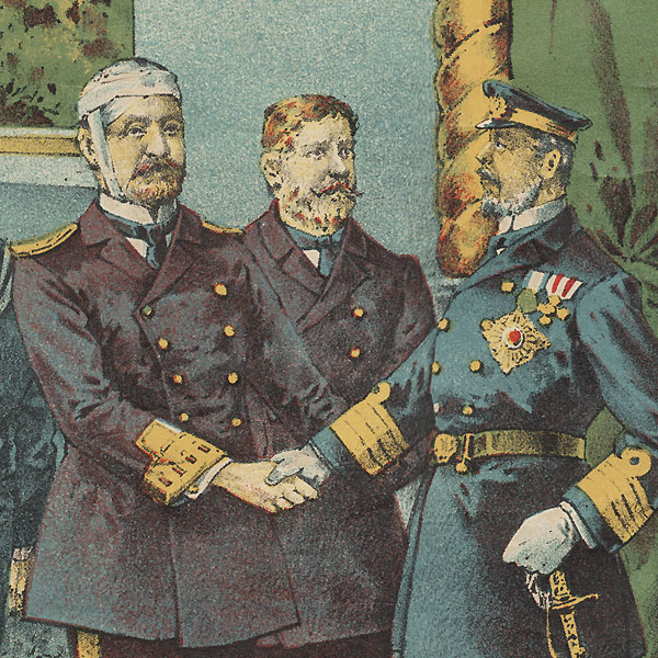 Meeting of the Hostile Commanders, 1905 by Meiji era artist (unsigned)