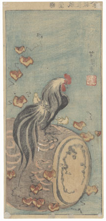 Rooster on a Drum by Yoshimori (1830 - 1884)