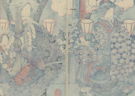 Courtesans and Kamuro Strolling, 1864 by Yoshimori (1830 - 1884)