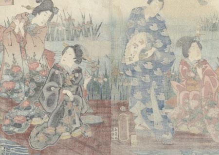 Flowers at Yatsuhashi by Fusatane (active 1854 - 1888)