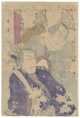 Kabuki Double Portrait with Sake Barrels by Meiji era artist (unsigned)