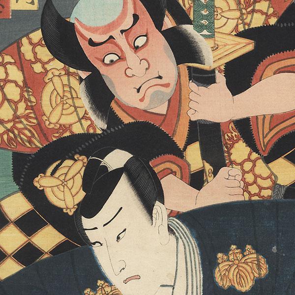 Ichikawa Danzo VI as Iwanaga Saemon and Ichikawa Ichizo III as Chichifuji Shigetada, 1857 by Toyokuni III/Kunisada (1786 - 1864)