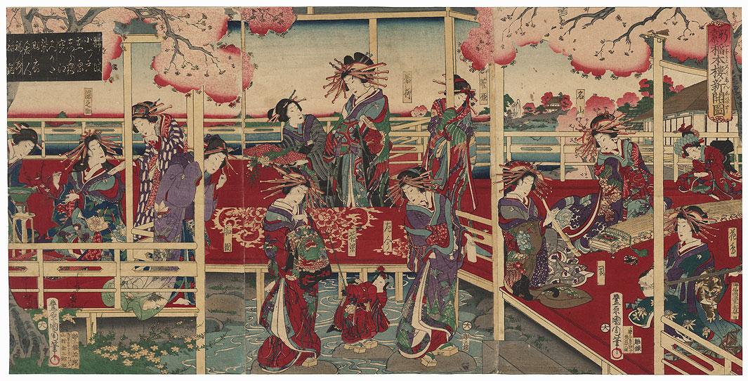Courtesans Enjoying Pastimes by Kunichika (1835 - 1900)
