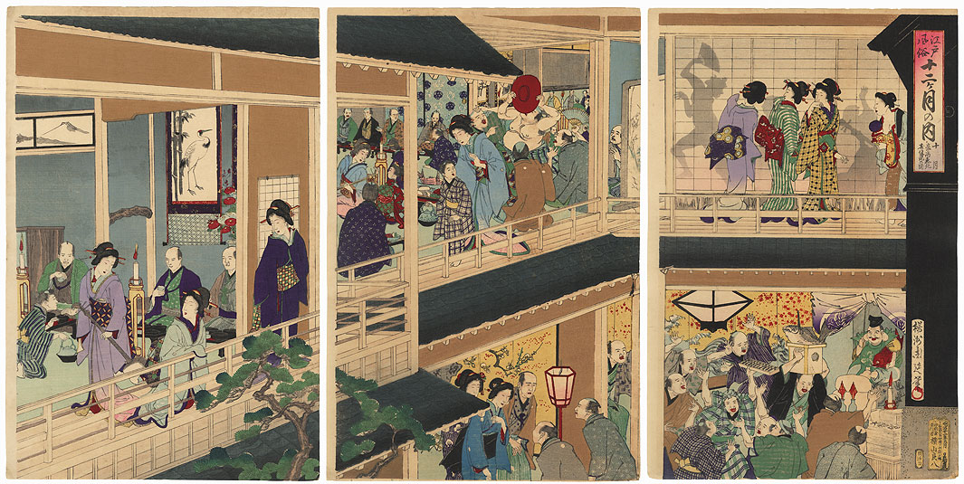 The Tenth Month: Wealthy Merchants Celebrating Ebisu, 1889 by Chikanobu (1838 - 1912)