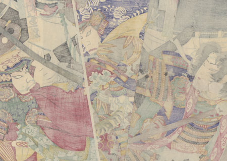 Duel between Uesugi Kenshin and Takeda Shingen by Chikanobu (1838 - 1912)