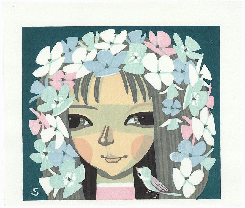 Flower Girl and Bird, 1996 by Shuzo Ikeda (born 1922)