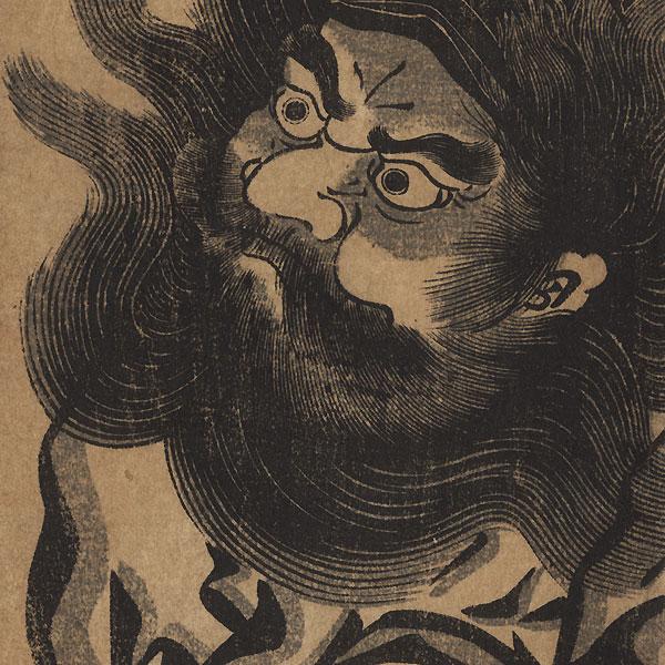 Shoki the Demon Queller Pillar Print by Edo era artist (unsigned)