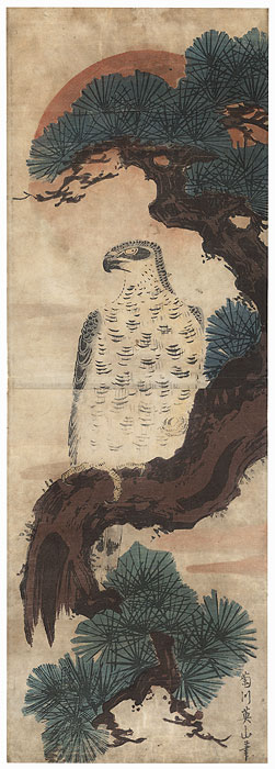 Hawk, Pine, and Rising Sun Kakemono by Eizan (1787 - 1867)