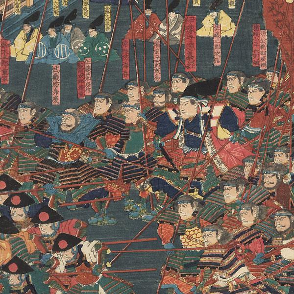 Yoritomo Watching Military Exercises, 1847 - 1852 by Yoshitsuya (1822 - 1866)