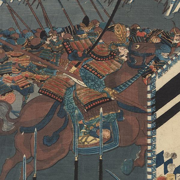Direct Confrontation between the Two Generals at the Battle of Kawanakajima, 1856 by Kuniyoshi (1797 - 1861)