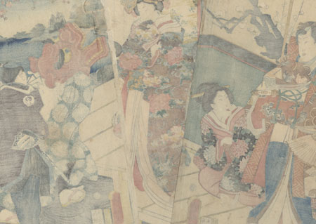 Spring Colors: Lion Dance at a Mansion, 1861 by Kuniaki II (1835 - 1888)