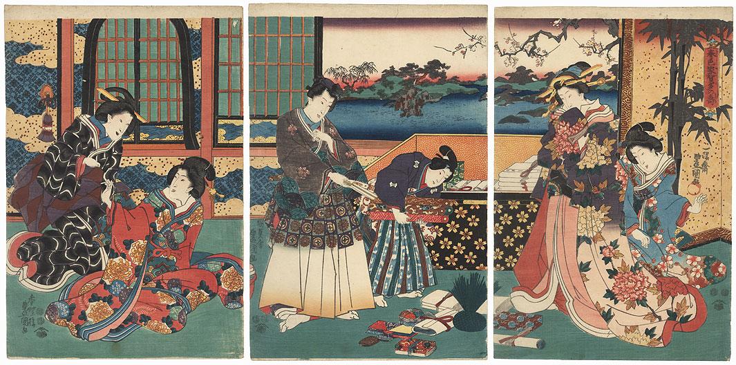 New Year Felicitations at the Palace, 1847 - 1852 by Toyokuni III/Kunisada (1786 - 1864)