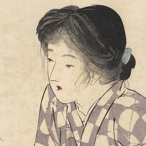 Beauty Watching a Cricket Kuchi-e Print by Kiyokata Kaburagi (1878 - 1973)